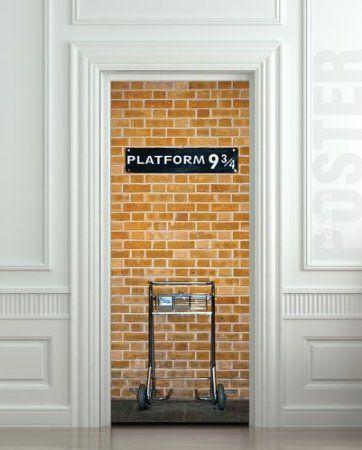 Amazon.com: Wall Door STICKER harry potter platform 9 3/4 poster, mural, decole, film 30x79 (77x200 Cm): Home & Kitchen