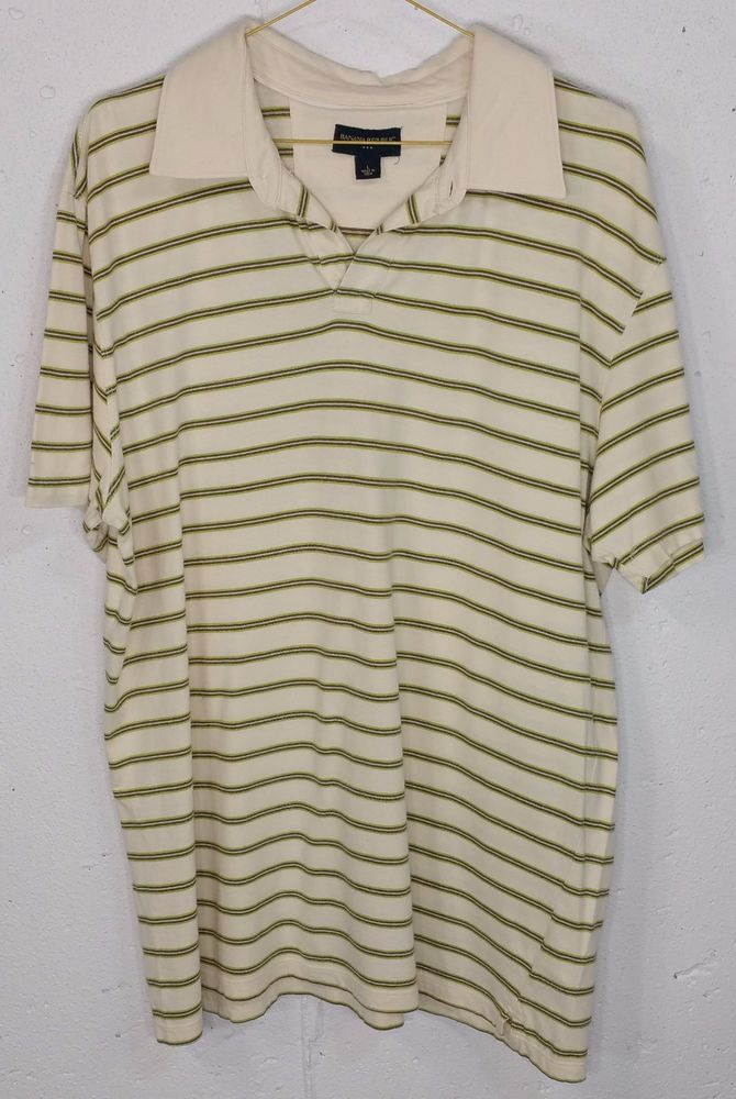Banana Republic Mens 100% Cotton Beige Striped Short Sleeve Polo Shirt Large L #BananaRepublic #PoloRugby