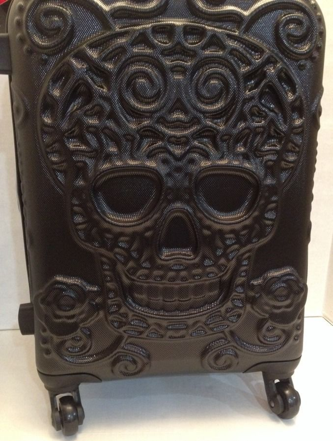 IT Luggage BLACK Skull Suitcase Luggage Hard Case 4 wheel ...