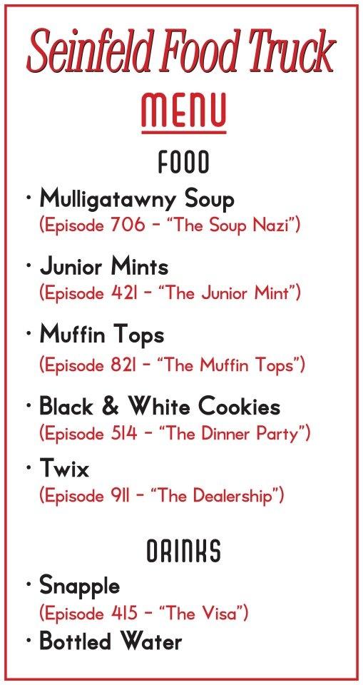 seinfeld soup truck menu