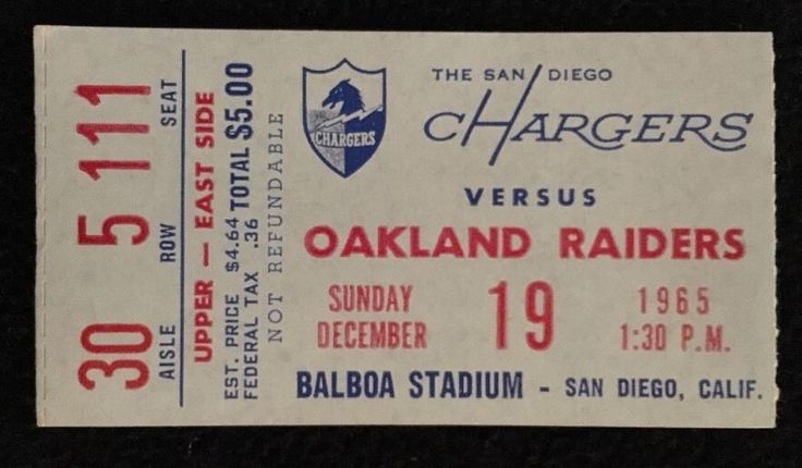 1965 AFL TICKET SAN DIEGO CHARGERS VS. OAKLAND RAIDERS 12/19/65
