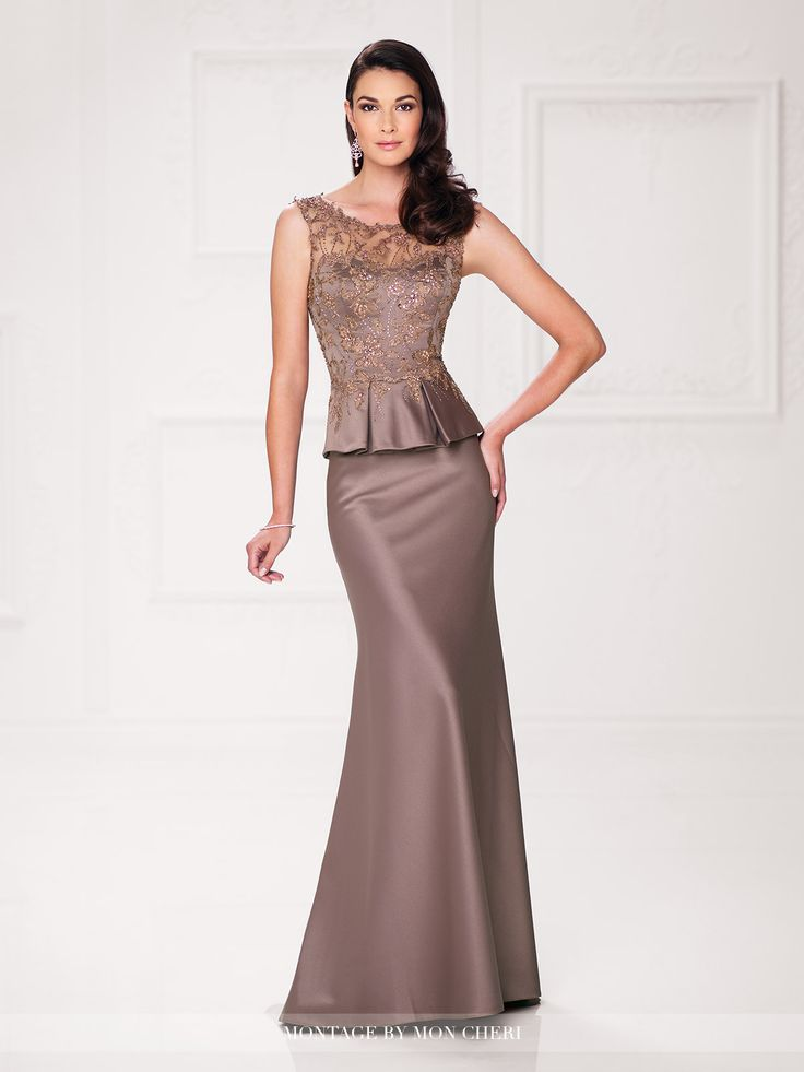 Sleeveless satin and lace trumpet gown with hand-beaded illusion lace Sabrina neckline, lace overlay sweetheart bodice with box pleated satin peplum, beaded illusion lace back with keyhole, sweep train. Matching shawl included. Sizes: 4 – 20 Colors: Mink, Sapphire, English Rose