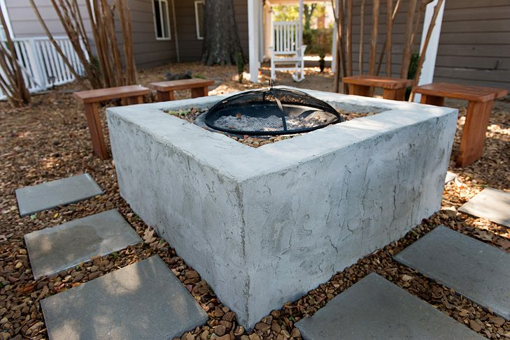 Square cinder block fire pit yard pinterest fire for Cinder block fire pit