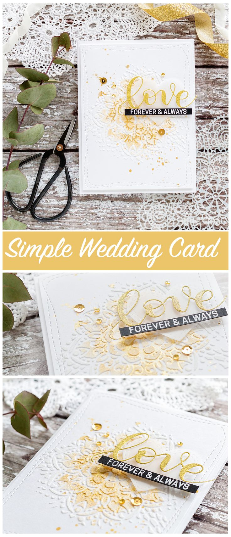 Quick and easy wedding card by Debby Hughes using a classic white, gold and black colour scheme. Find out more about this card by clicking on the following link: http://limedoodledesign.com/2017/06/quick-easy-card-for-the-wedding-season/