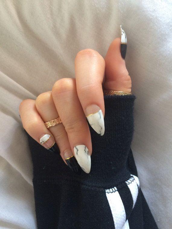 x Mono Marble x monochrome marble nails gold detail by KirisKlaws