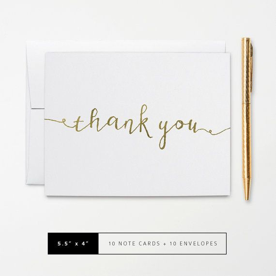 Flat or Folded Note Cards // Set of 10 // Faux Gold Foil Calligraphy Thank You Card // Personalized Stationery by k8inked