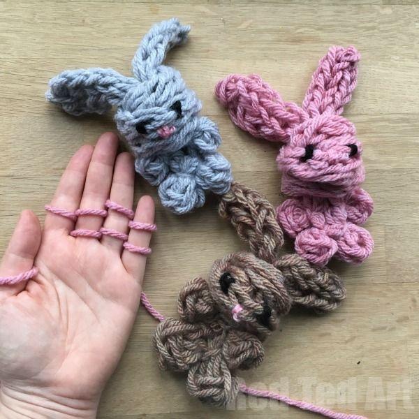 Easy Finger Knitting Bunny DIY - Red Ted Art's Blog