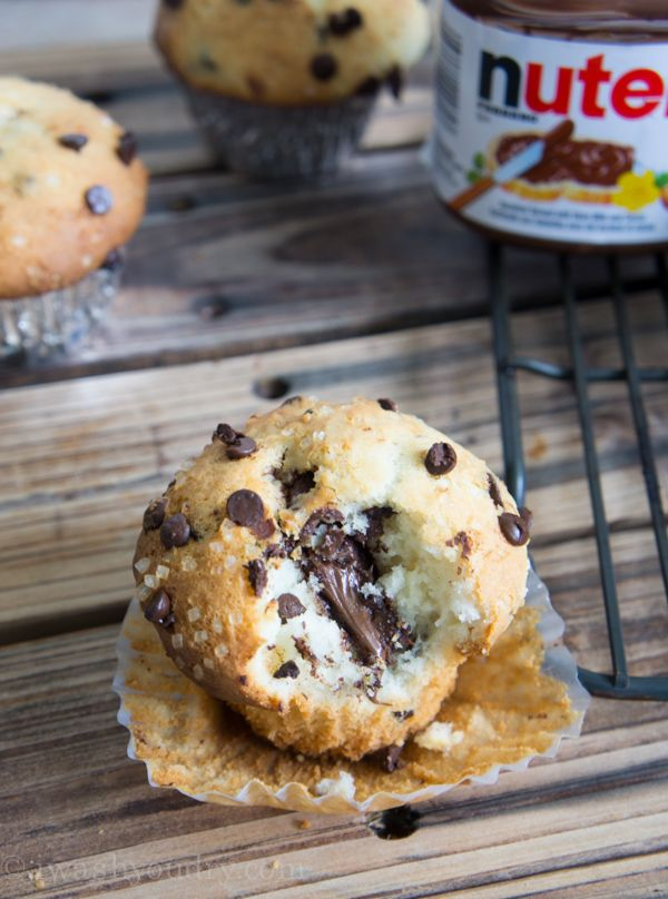 Nutella Stuffed Chocolate Chip Muffins- Is this a muffin or a cupcake? Oh well I'll make it with whole wheat flour , throw in some flax seed and have them as a breakfast treat!