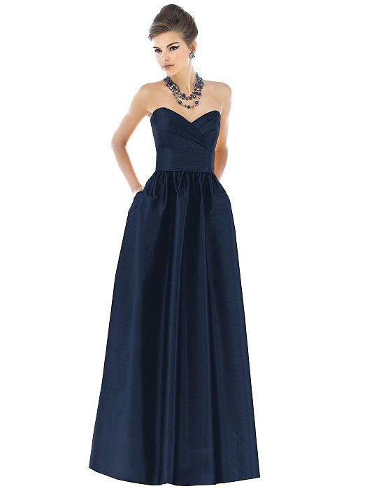 Strapless full length dupioni dress with draped  bodice and pleated midriff. Full shirred skirt has pockets at side seams. Also available cocktail length as style D540. Available in sizes 00-30W.   http://www.dessy.com/dresses/bridesmaid/d541/