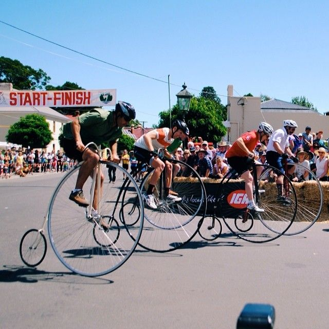 The historic town of Evandale is host to the National Penny Farthing Championship. Held annually in February it is the largest Penny Farthing event in the world (they have the Guinness World record to prove it!). #pennyfarthing #evandale #tasmania #discovertasmania Image Credit: lokmannorazmi.....a great weekend was had by all....