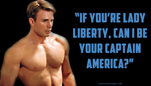 How to Pick Up a Fangirl: Pick Up Lines.  This. Would. Work.  You know, if you really were Captain America lol.