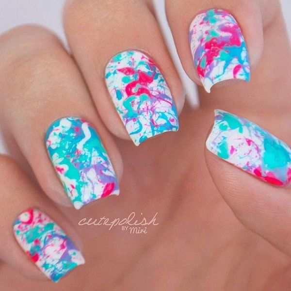 Multicolored Marble Nail Art Design. If you are not professional in  doing complex nail arts, this multicolored marble design is the best  thing that you can do at your home without any tools.- 45 Multicolored Nail Art Ideas