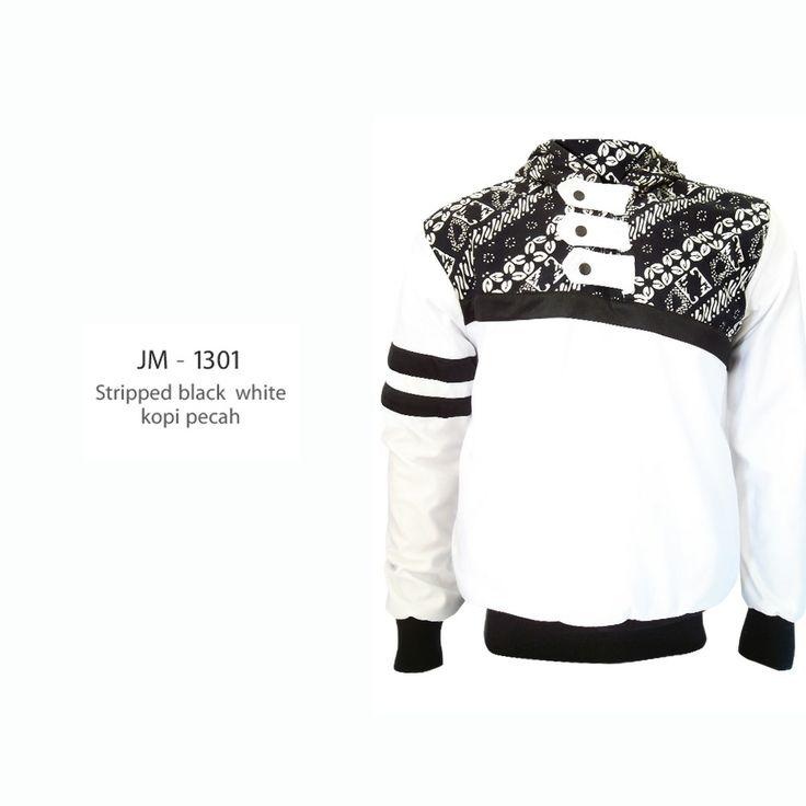 stripped black white kopi pecah JM-1301  #jaketbatikmedogh  http://medogh.com/baju-batik-pria/jaket-batik-pria
