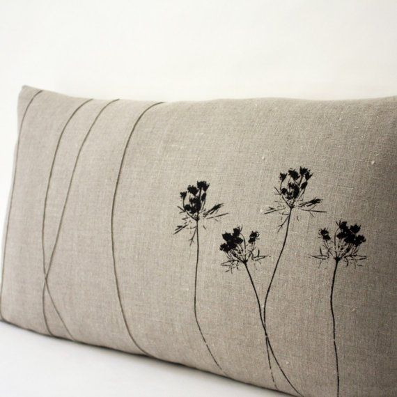 ♒ Enchanting Embroidery ♒  simply embroidered botanical pillow