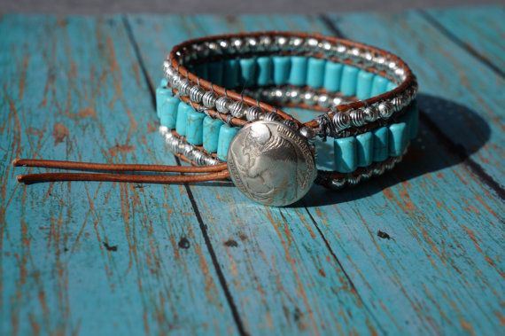 Turquoise and Leather Cuff Bracelet Western by fleurdesignz
