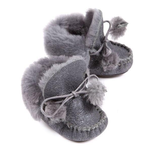 Fuzzy, grey, baby booties!