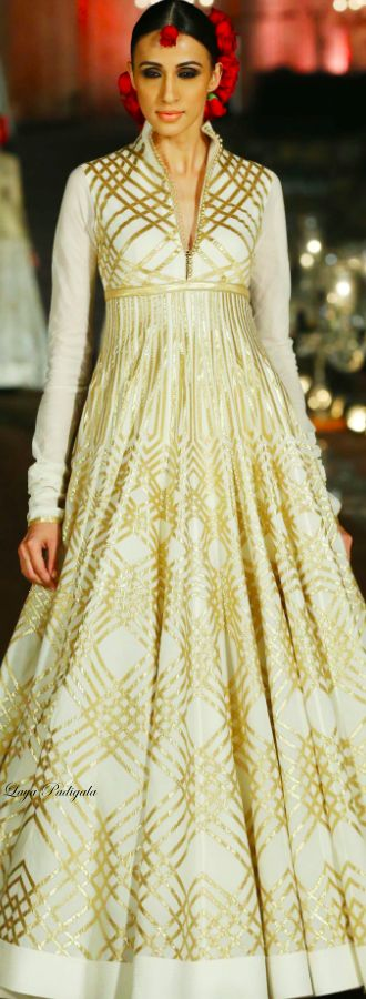 #fullonshaadi | This white anarkali with a red dupatta would look wonderful for a post-wedding party