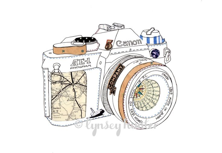 Canon AE-1 SLR camera - Ink and collage illustration. $20.00, via Etsy.