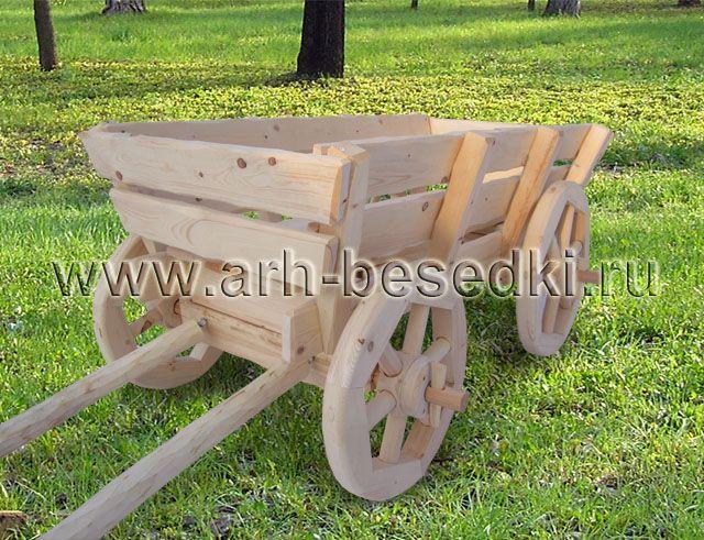 Садовая декоративная телега, макет телеги из дерева