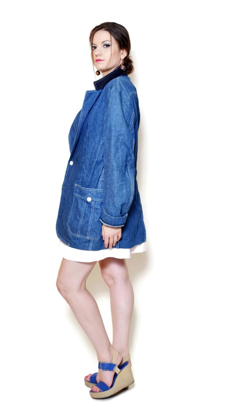 long denim jacket outfit style  US$99.95
