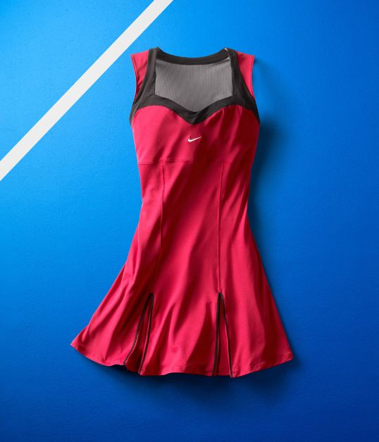 Serena will compete in two colors of this sweetheart neckline dress: red  and cobalt blue. The full skirt and inverted pleats will give her plenty of leg room for sprinting and lunging