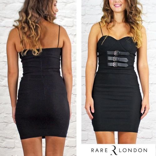 Rare London Black Bodycon Dress With Leather Look Buckles Available Instore And Online www.pinkcadillac.co.uk