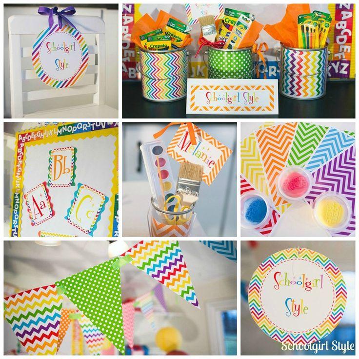 Classroom Decoration Rainbow ~ Schoolgirl style learn colorfully rainbow chevron