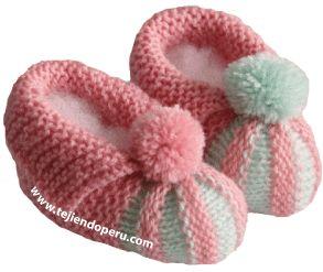 Tutorial: zapatitos bebe con punta acordeón en dos colores tejidos en dos agujas o palillos
