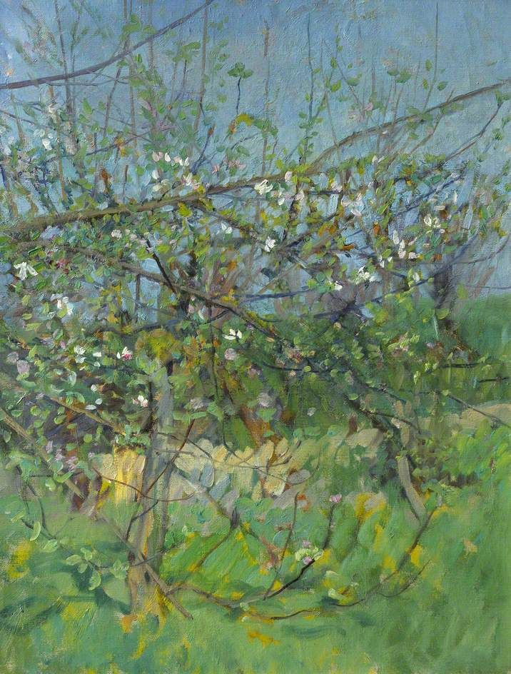 #Art #Trees - Sir George Clausen 1852-1944, The Cherry Orchard http://www.ablankcanvas.net