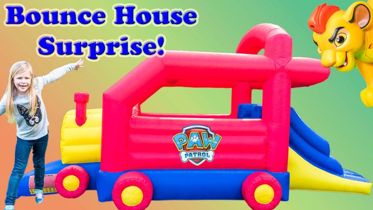 TRAIN BOUNCE HOUSE Surprise Worlds Largest Huge Bounce House Paw Patrol + Lion Guard Toys Video - YouTube