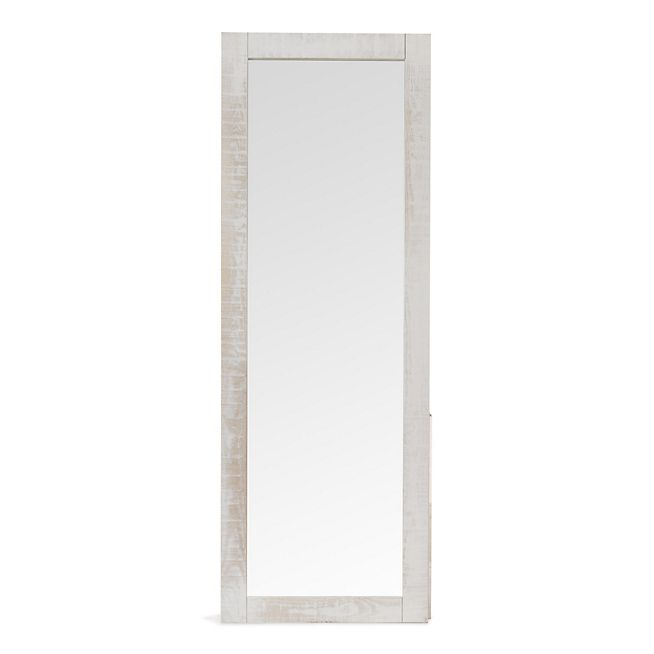 jalousie miroir long rectangulaire blanc en pin bross u00e9 en