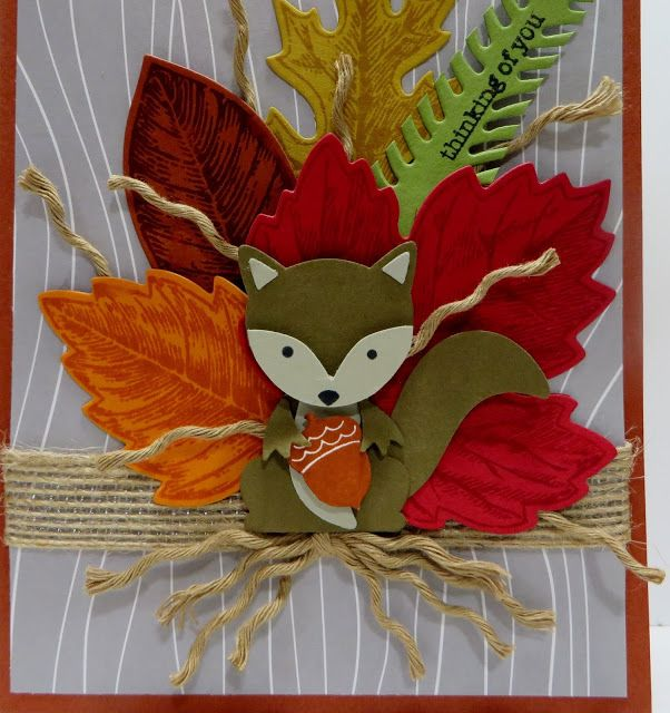 Lynn's Locker: Stampin' Up Foxy Friends, Teeny Tiny Wishes, Vintage Leaves, Leaflets, Pretty Pines, Fox Builder