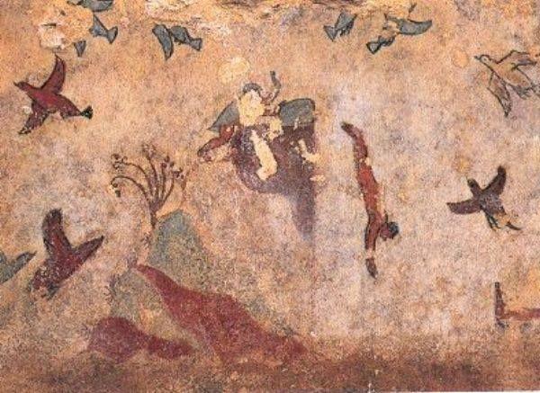 Il nuoto è un sport recente? Niente affatto! Su una tomba etrusca del VII secolo a.C., detta della Caccia e della Pesca, si trova una delle più antiche raffigurazioni di un tuffatore che dopo essersi lanciato da una rupe si sta per inoltrare tra le onde del mare.