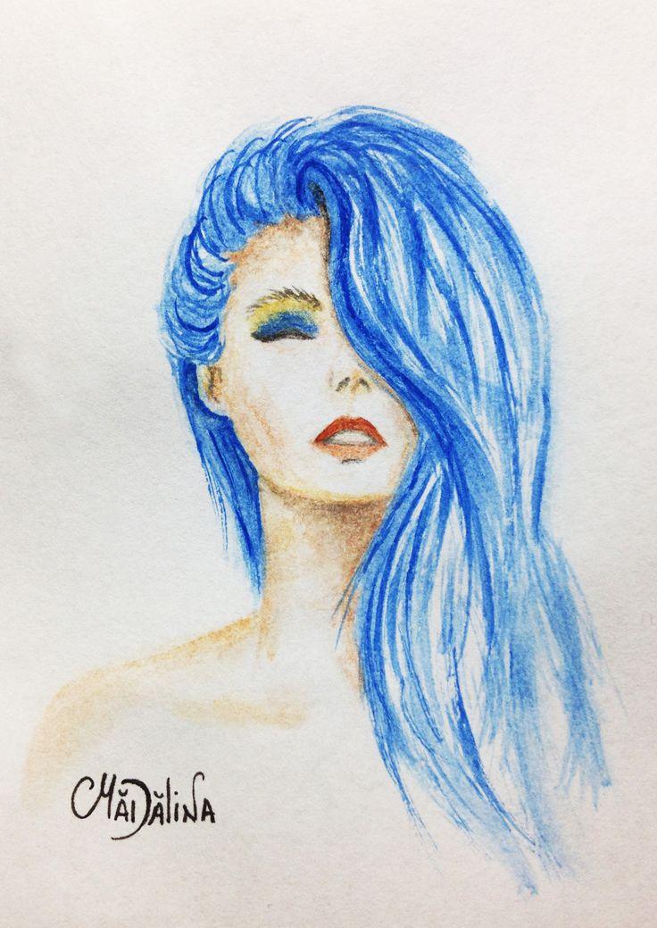 Blue Watercolor hair #art