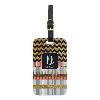 chevron stripes monogram luggage tag - initial gift idea style unique special diy