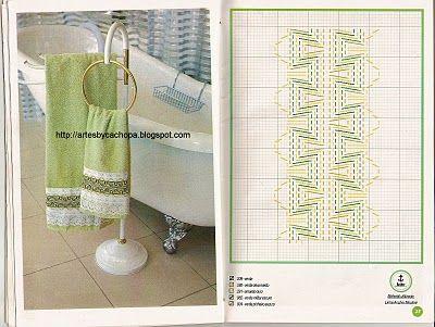 Huck Weaving on towel border - Page in Portuguese so it needs translation - Arte by Cachopa - Bordado I: Diversas toalhas de banha com bordado em vagonite
