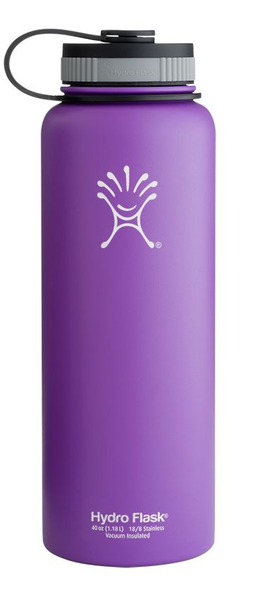 HYDRO FLASK 40oz WIDE MOUTH  ACAI PURPLE - The Hydro Flask 40 oz Wide Mouth stainless steel water bottle is made for serious hydration and liquid storage. The larger mouth opening makes the 40 oz a great option for mixing sports drinks or storing smoothies, and our double wall vacuum insulation ensures that cold liquids will stay cold for up to 24 hours, while hot liquids remain hot for up to 12.
