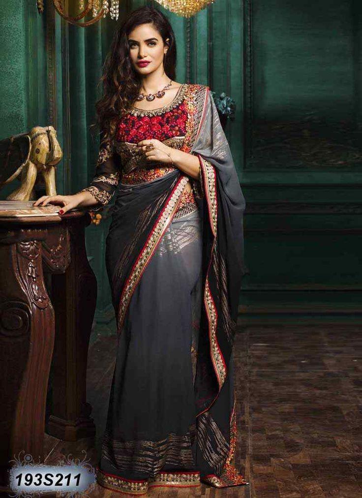 Contemporary Grey Coloured Georgette Designer saree