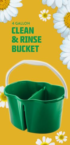 Two buckets in one: one side for clean water and the other for the dirty water. Never put dirty water on your floor again!