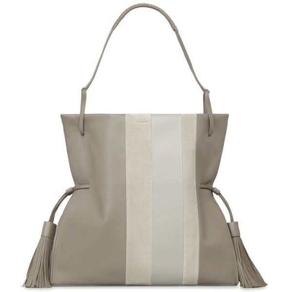 Women's Allsaints Casey Calfskin Leather & Suede Hobo ($378) ❤ liked on Polyvore featuring bags, handbags, shoulder bags, taupe grey, grey shoulder bag, gray purse, grey purse, slouchy shoulder bag and slouch shoulder bag