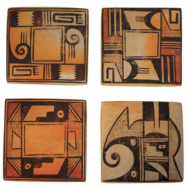 Set Of Four Vintage Native American Sa Adams Hopi Pottery Tiles Clay Pinterest Americans And Art