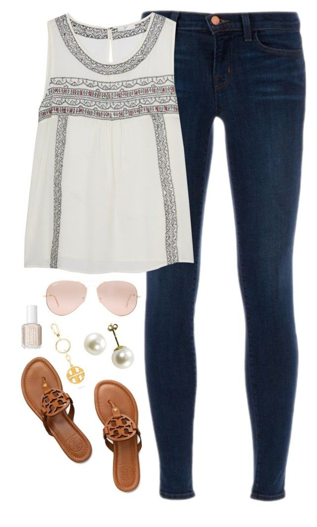 """end of spring break"" by classically-preppy ❤ liked on Polyvore featuring J Brand, Tory Burch, Ray-Ban and Essie"