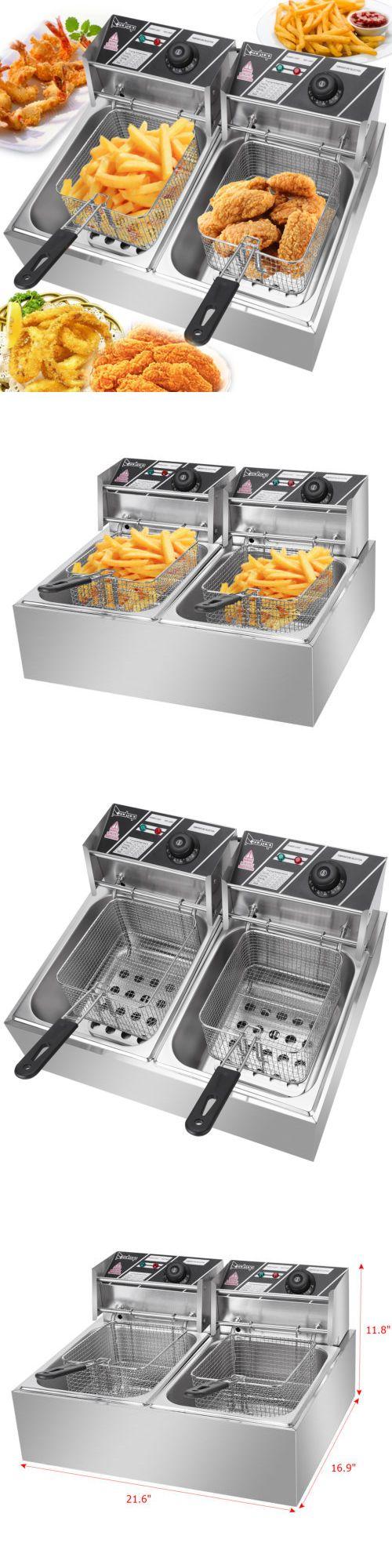 Fryers 185033 5000W 12L Electric Deep Fryer 2 Tank Fry
