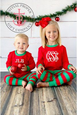 Monogrammed Christmas Pajamas Personalized Red and Green Pajamas with Monogram Many Sizes Available