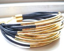 Cuero azul marino brazalete pulsera con abalorios de tubo oro - Multi Strand collar femenino... por B A L O O S