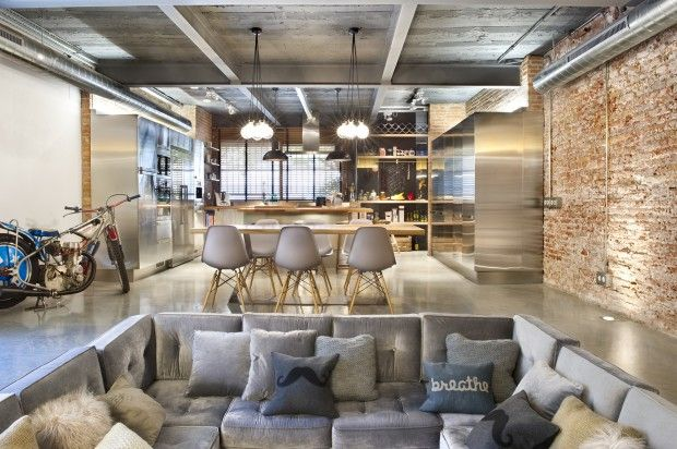 modern loft design. home renovation inspiration idea. bright. clean. exposed brick. home decor. open concept. neutral. industrial.