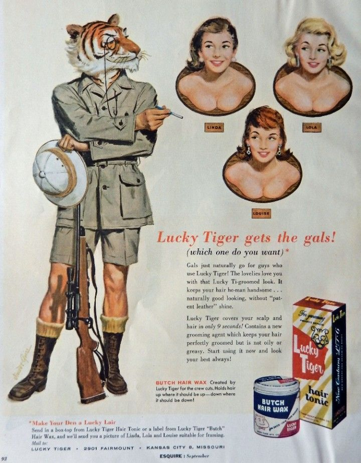 Lucky Tiger Hair Tonic Butch Hair Wax Vintage Print Ad llustration lucky tiger gets the gals