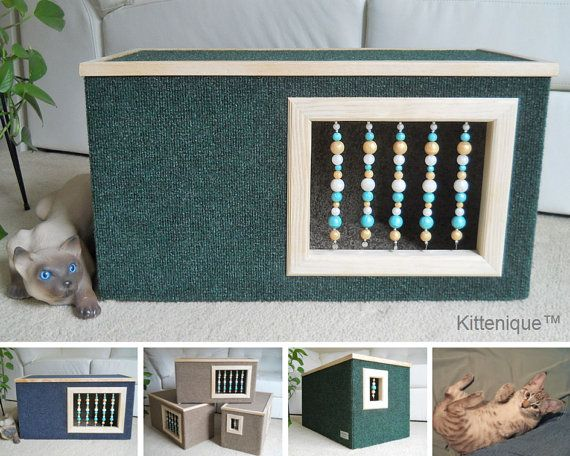 Kittenique Green Beaded Cat House. Handcrafted wooden cat house featuring a unique beaded doorway and window that will satisfy your cat's curiosity.