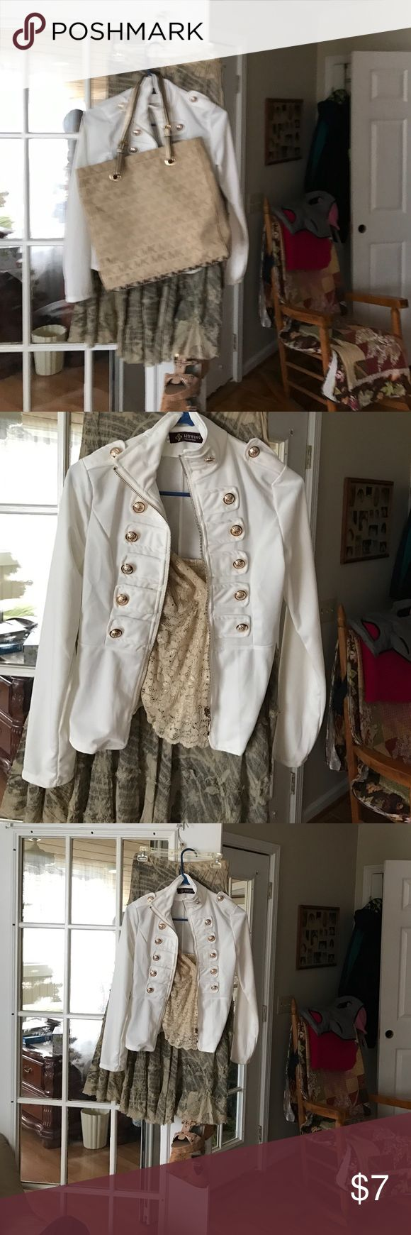 White zip up blouse Very cute white with gold grommet type buttons .. Linyuou Fashion Wear Tops Blouses