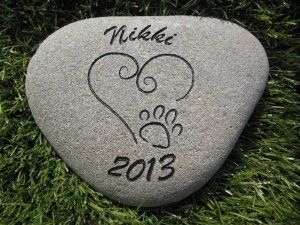 Sandblast Engraved River Stone Pet Memorial Headstone Grave Marker Dog Cat h med by GraphicRocks